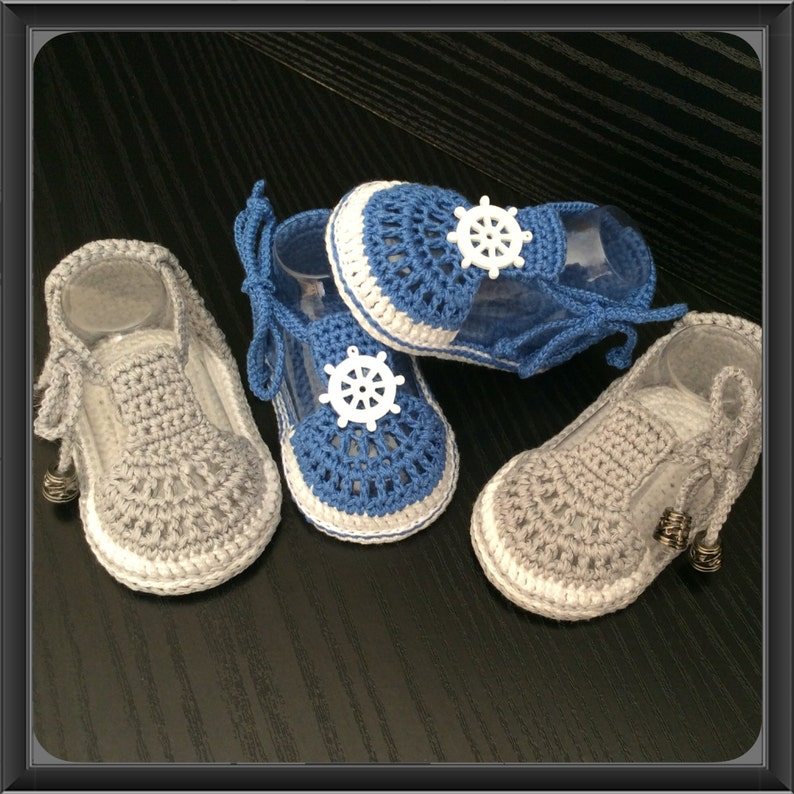 bb10610be Baby crochet shoes Baby Boy Crochet Sandals in Blue or Gray