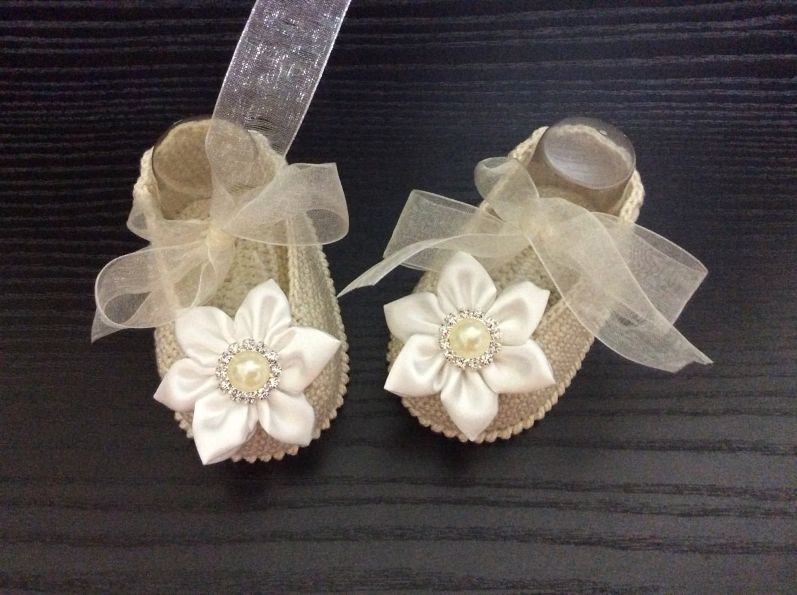 new baby girl booties, ballet slippers for baby girl and headband