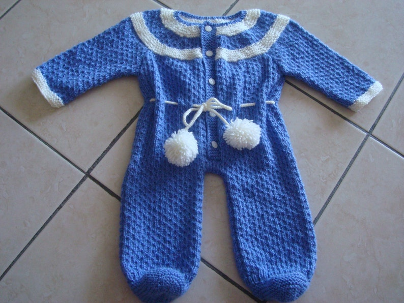 32cd5b18c9e8 Knitted Baby Snowsuit in blue