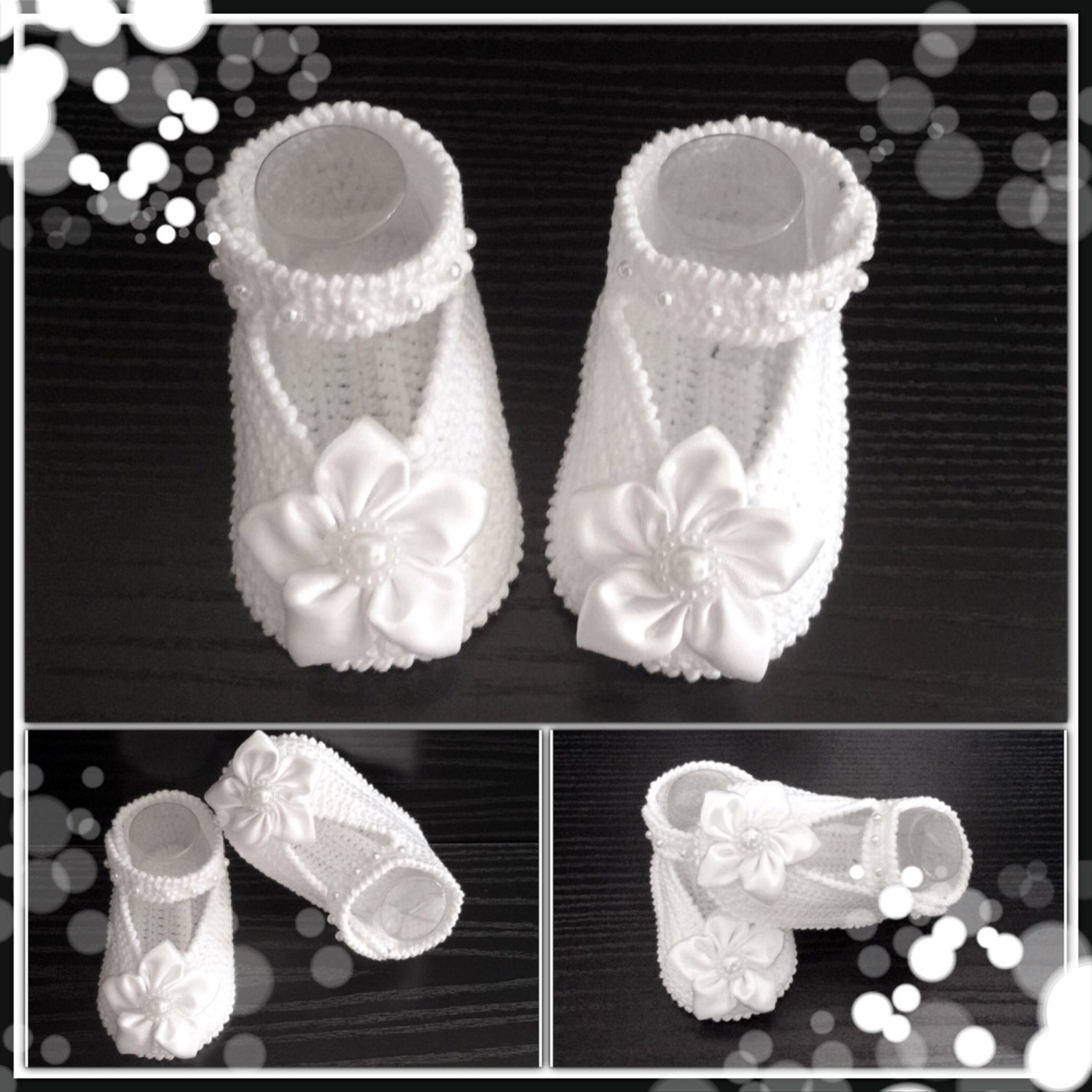 baptism shoes.crochet baby ballet slippers.white satin crib shoes.hand crocheted mary jane booties with satin flowers. baby ball