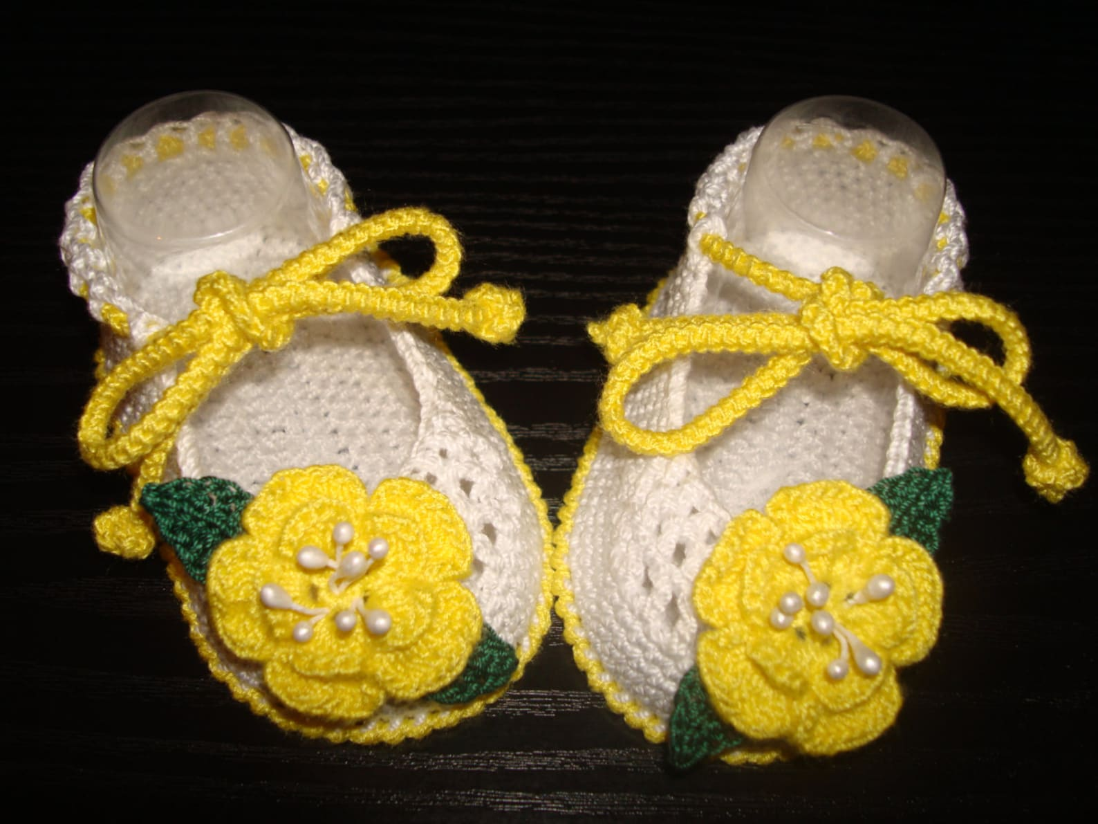 crochet baby girl booties - ballet slippers -yellow flower shoes. ready to ship!