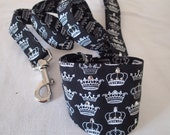 """Black with white crowns Bandanna & Matching lead with Swarovski crystal embellishments for small dog or cat (up to 10"""" neck)"""