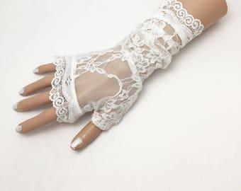 Wedding gloves, Ivory lace gloves, fingerless gloves, bridal gloves, vintage look gloves, stretch lace gloves,