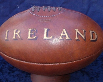 Vintage Style Rugby Ball Ireland Hand Painted Old Fashioned Leather Rugby Ball superb Gift.