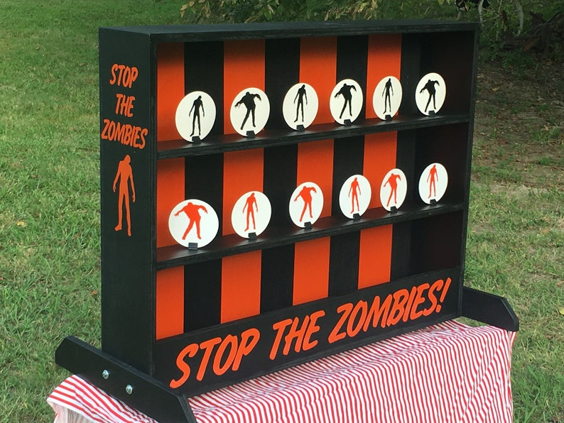 Carnival Halloween Theme.Zombie Theme Tabletop Shooting Gallery Carnival Game For Halloween Birthday School Or Walking Dead Party Compatible With Nerf Guns