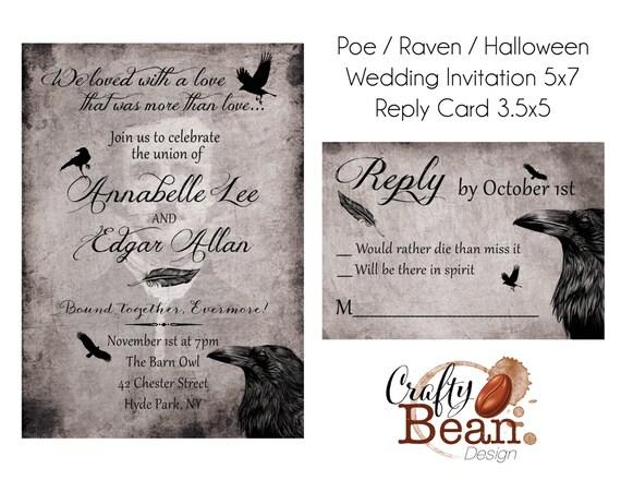 Raven Poe Halloween Gothic Wedding Invitation Diy Etsy
