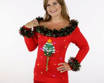 ugly christmas sweater women ugly sweater light up christmas tree tacky ugly sweater party christmas party xmas sweater with snow globe