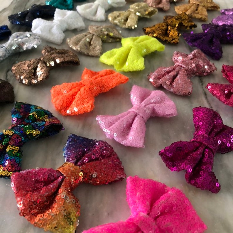 3.5 Inch Sequin Bow WITH or WITHOUT Clip Messy Sequin Bows image 0