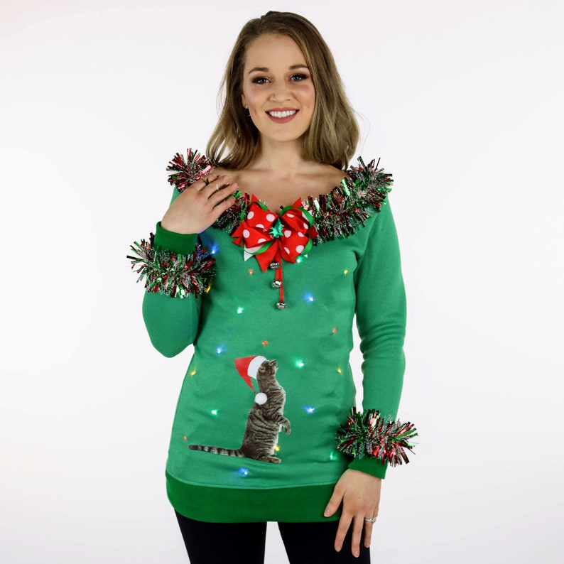 Womens Ugly Cat Sweater Tacky Christmas Sweater for Women image 0