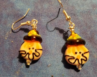 Scarecrow Lampwork Glass Earrings