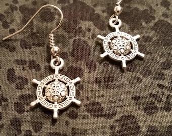 Ornate Helm (Ship's Wheel) Earrings - Silver Tone