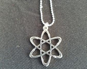 Atom Molecule Necklace - Silver Tone