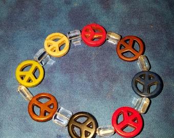 Petite Peace Sign Bracelet - Howlite and Glass