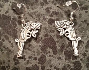 Pistol with Rose Earrings