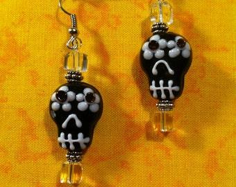 Lampwork Glass Sugar Skull Earrings