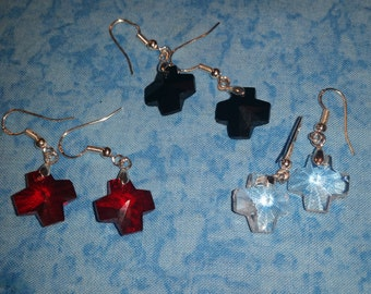 Crystal Cross Earrings - Choose Your Color