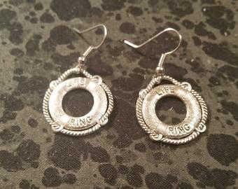 Life Preserver Earrings - Silver Tone