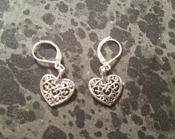 Filigree Heart Earrings - Silver Tone
