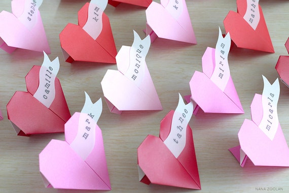 Items Similar To 20 Origami Heart Name Place Cards Red Pink Lavender