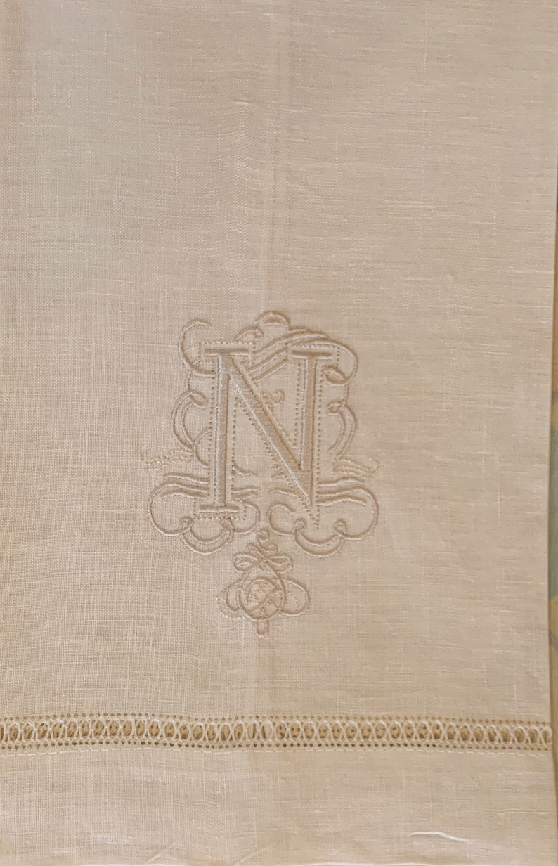 Irish Linen Embroidered N beige Monogram Guest Towel in Beige thread with  Gilucci Border Free shipping in US