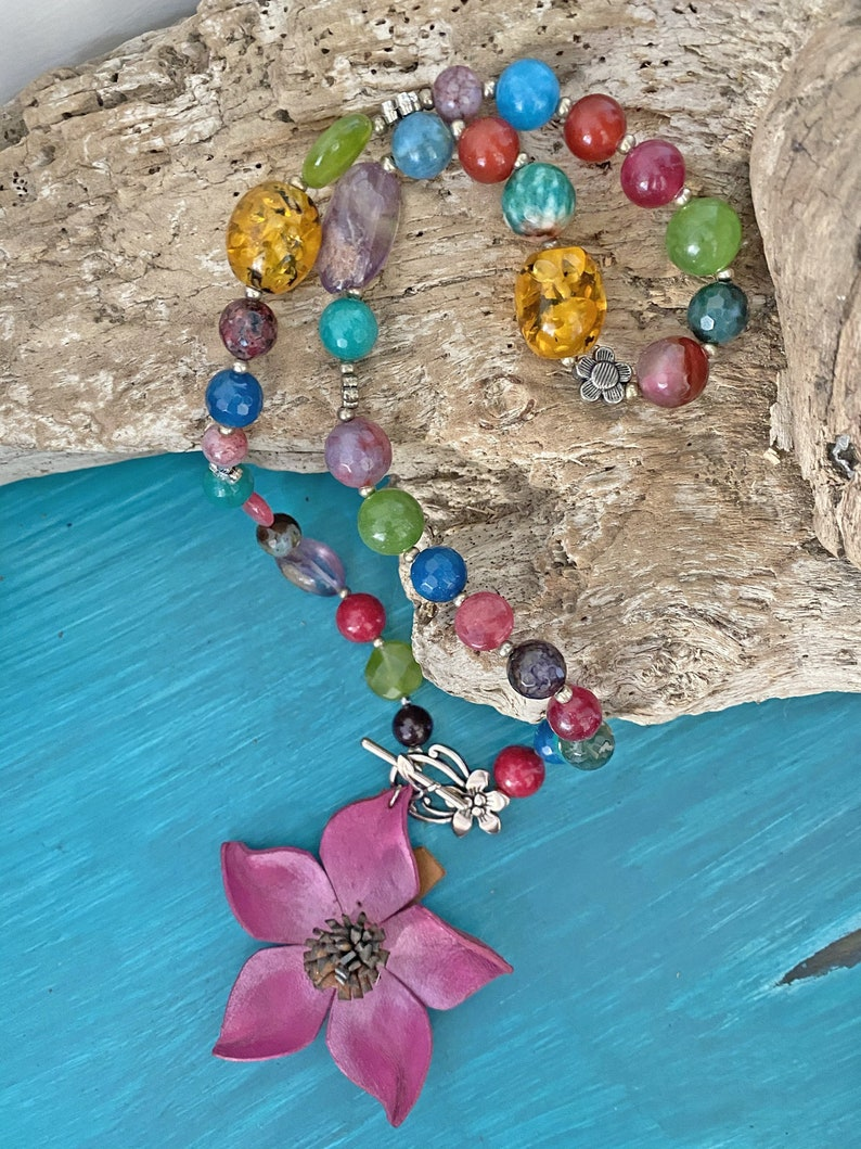 Cheerful Necklace Flower Necklace Woman Necklace Boho Necklace Bohostyle Necklace,Bohemian Necklace Stones Necklace Colorful Necklace