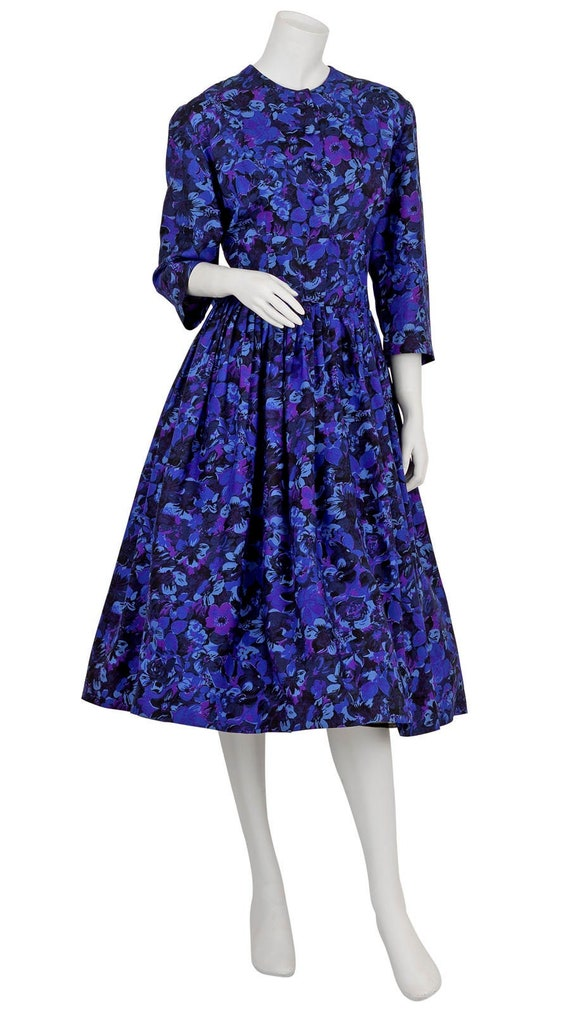 Purple 1950s Floral Print Day Dress