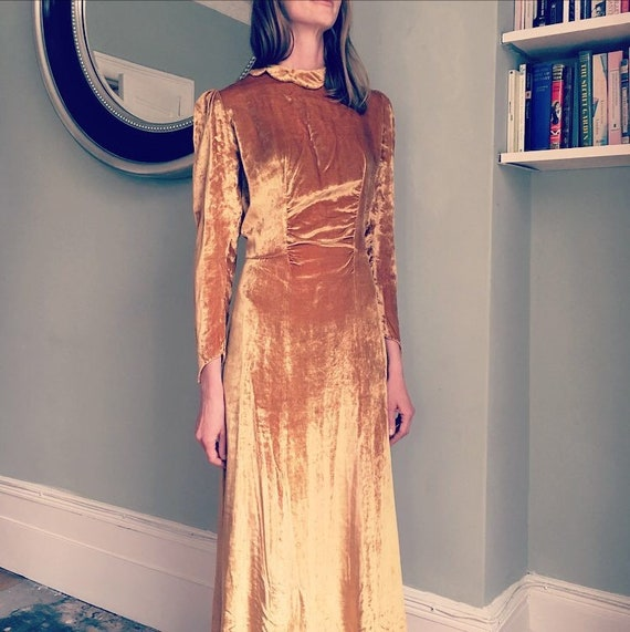 Sublime 1930s Gold Velvet Maxi Dress with Puff Sle