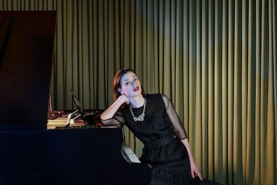 1950s Black Organza Cocktail Dress - Sheer Sleeves