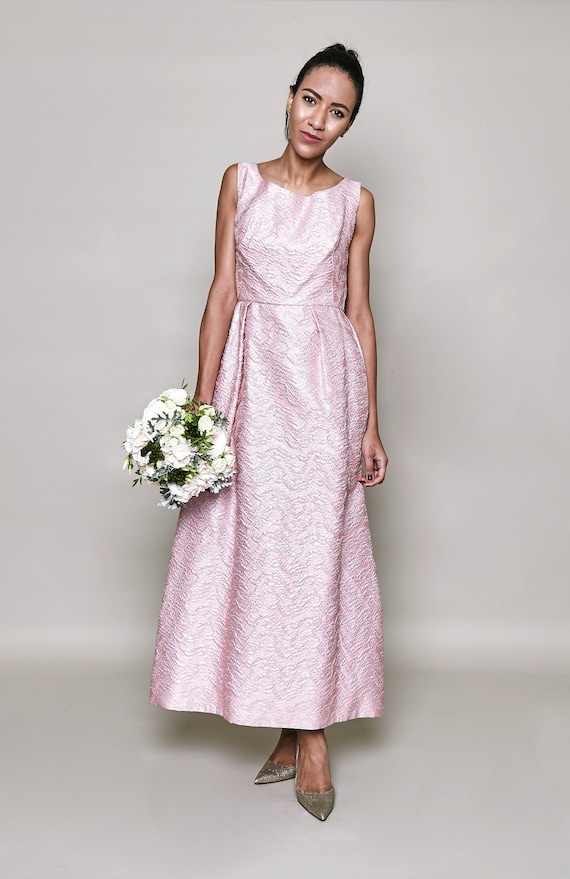Metallic 1960s Ball Gown in Pink & Silver Textured