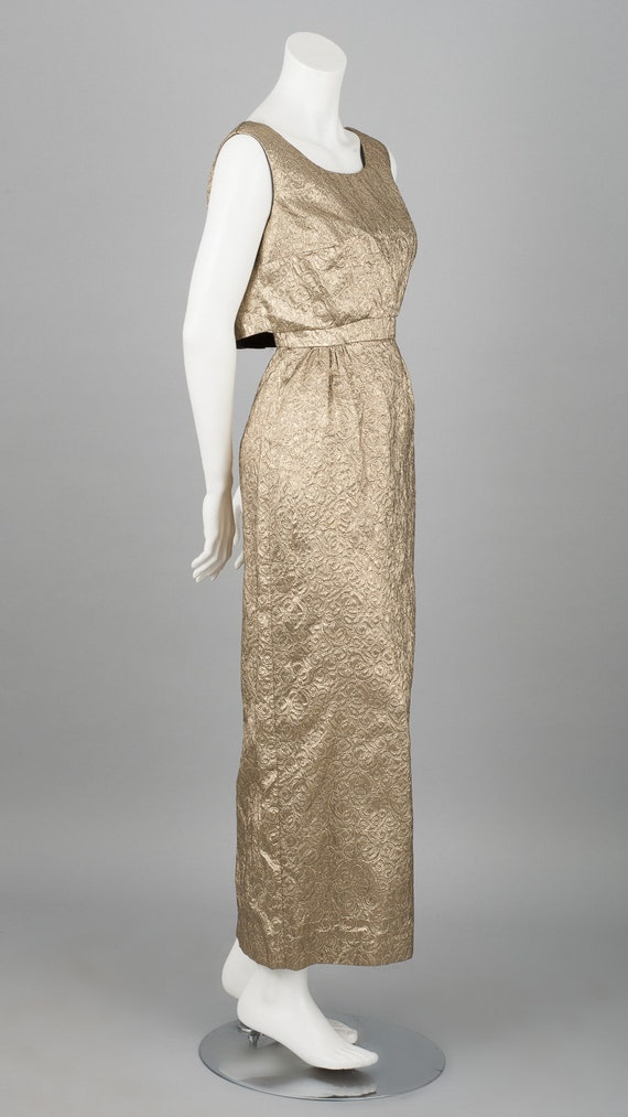 Lustrous Metallic 1960s Evening Gown in Gold Fabri
