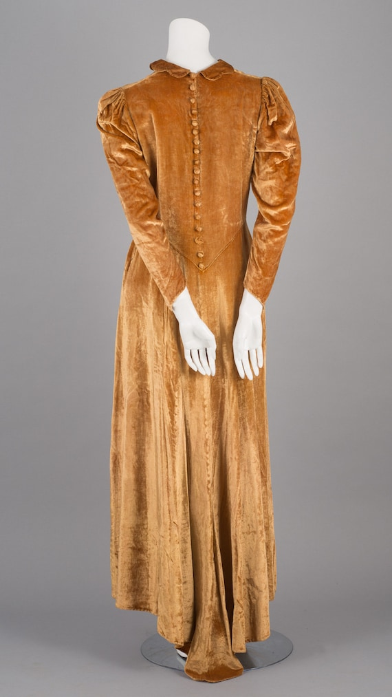 Sublime 1930s Gold Velvet Maxi Dress with Puff Sl… - image 3
