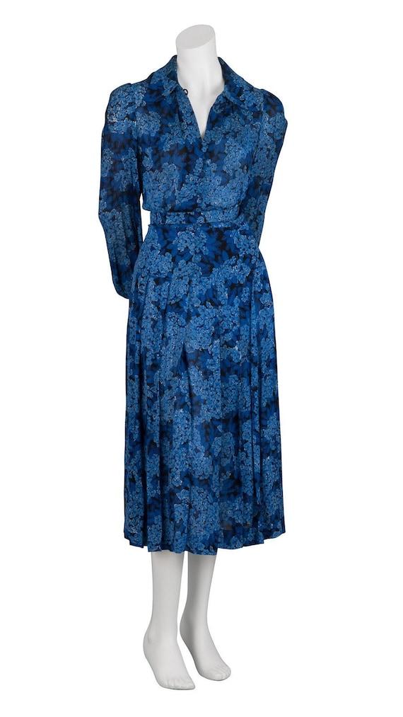 Floral Print 1970s Shirt Dress - M