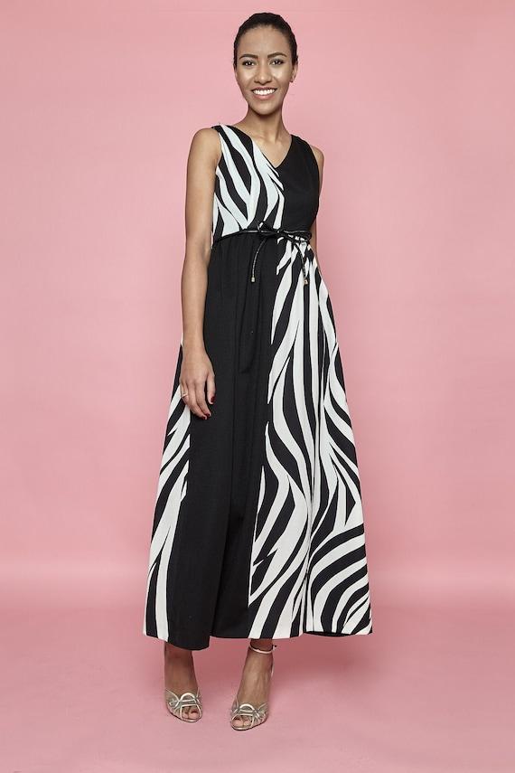 Disco! 1970s Zebra-Print Sleeveless Maxi Dress