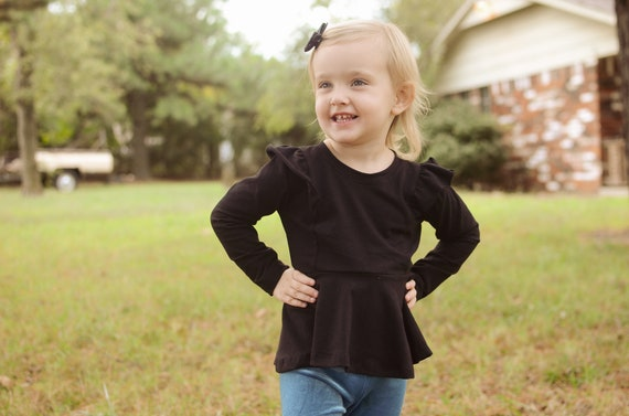 Flutter Peplum in Black