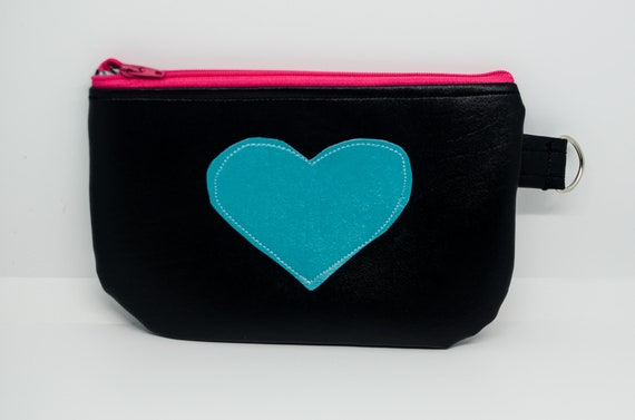 Turquoise heart Large Coin Pouch