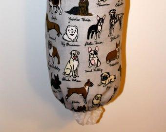 Grocery Bag Holder, Plastic Bag Holder/Dispenser / Dog Breed Flannel / Chihuahua / Beagle/ Pug / Corgi / Labrador / Bulldog / Boston Terrier