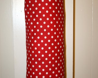 Grocery Bag Holder, Plastic Bag Holder/Dispenser / Red Polkadot