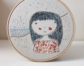 "hoop art embroidery  ""A walk by the seaside""  free motion embroidery hoop art textile art fabric art wall hanging hoop art decor"