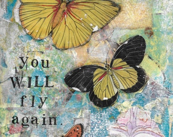 You Will Fly, 5x7 notecard of original mixed-media collage