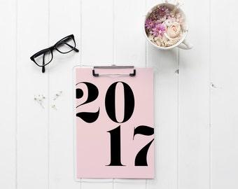 Minimalist Printable Calendar 2017, Simple Calendar, Digital Calendar, Pink and Black Calendar