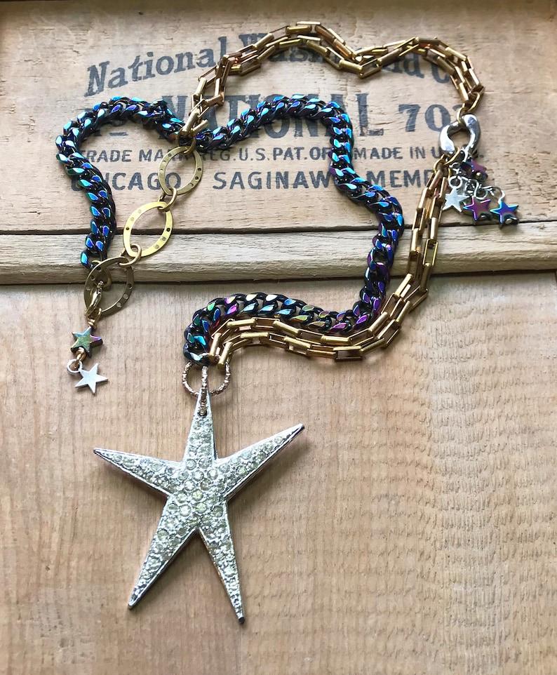 Vintage Rhinestone Star Superstar Funky Handmade OOAK Chunky Rainbow Chain Retro 80s Brass Chain Falling Stars Celestial Necklace
