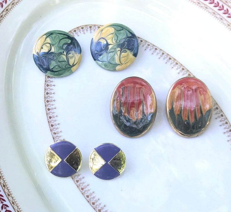 Purple Gold Geometric Earrings Stud Back Vintage Earrings 1980s Kitsch, Circular Earrings Retro Jewelry Vintage Swirl Earring Lot