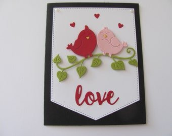 VALENTINE, ENGAGE, Anniversary,Wed LOVE/'S BIRD WITH THEIR RINGS. 3D Pop Up Card