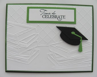 School Graduation Card, Graduation Cap Card,Green, Black, Embossed School Books Cards, Customized School Colors