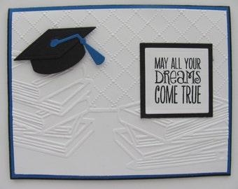 School Graduation Card, Graduation Cap Card,Blue, Black, Embossed School Books Cards, Customized School Colors