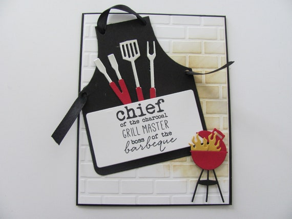 Fathers Day Apron Card Birthday Card Thank You Card Etsy