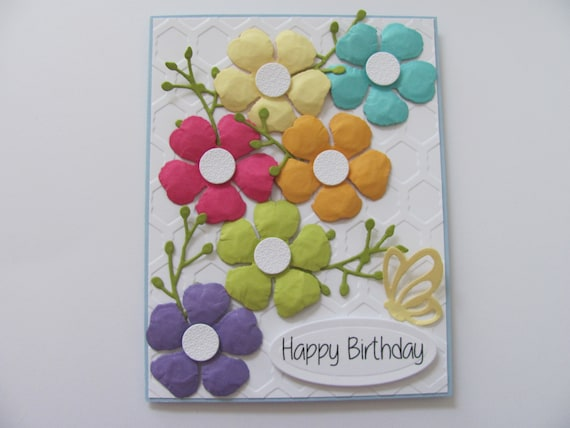 Phenomenal Happy Birthday Flower Card Embossed Birthday Card Handmade Etsy Personalised Birthday Cards Veneteletsinfo