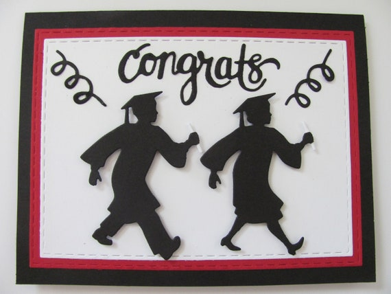 CONGRATS CARDS FOR STUDENTS FEMALE GRADUATION SILHOUETTE DIE CUTS