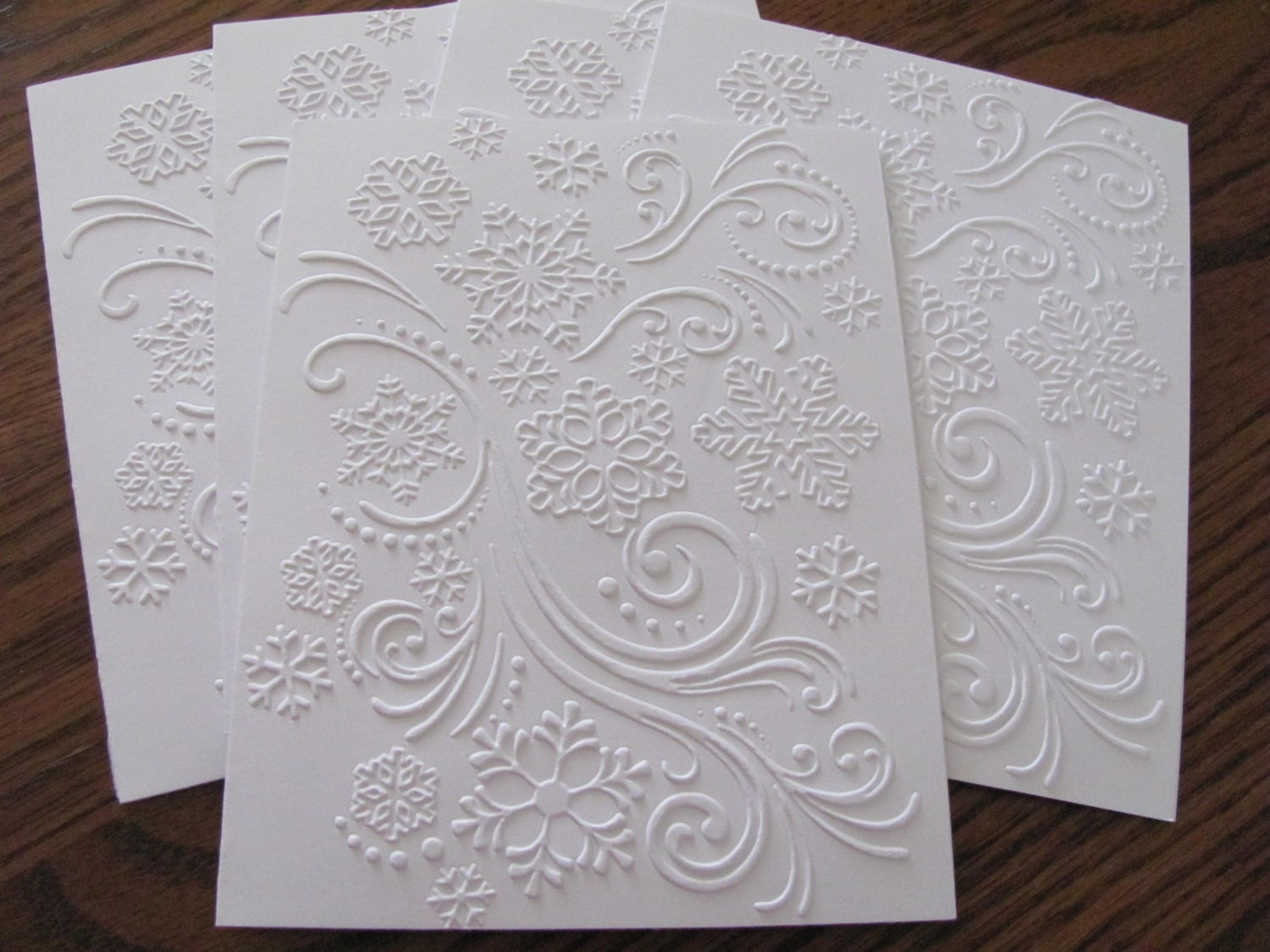 Snowflake Embossed Cards White Embossed Christmas Card Set | Etsy
