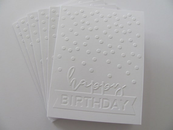 Embossed Cards, Birthday Cards, Handmade Cards, Note Card Set, Greeting Cards, Blank Birthday Cards, Happy Birthday Card, Blank Cards
